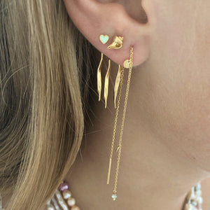 STINE A - DANCING THREE TWISTED CURVES BEHIND EAR EARRING - GOLD