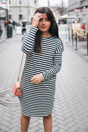 AIAYU - SLEEVE DRESS 3/4 white and blue stripe