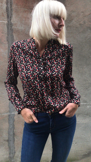 CO`COUTURE - COCO PERNILLE FLOWER SHIRT - BLACK