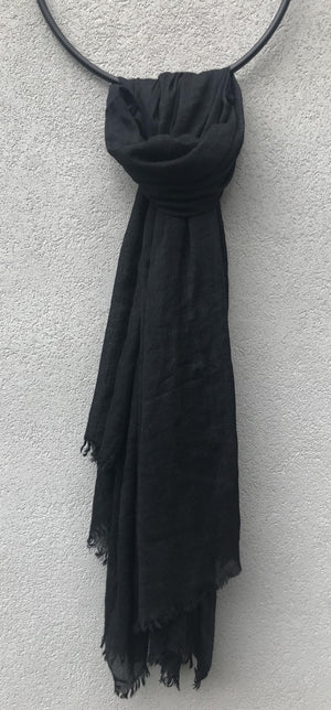 PRIVATE0204 - OPEN LARGE SCARF - BLACK