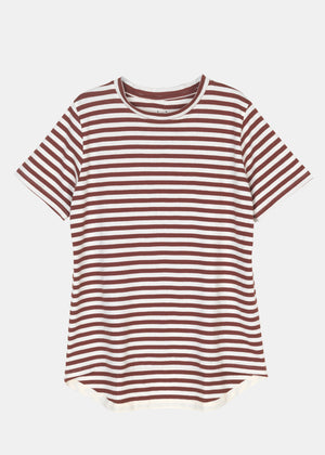AIAYU - SHORT SLEEVE TEE STRIPED - MIX BORDEAUX