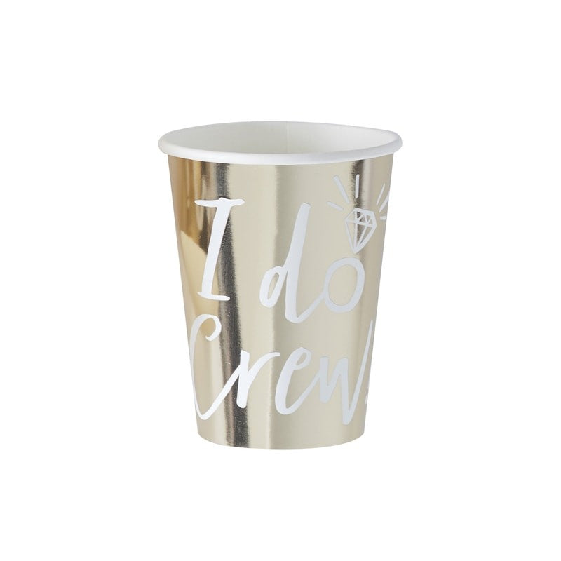 Gold Foiled I Do Crew Paper Cups