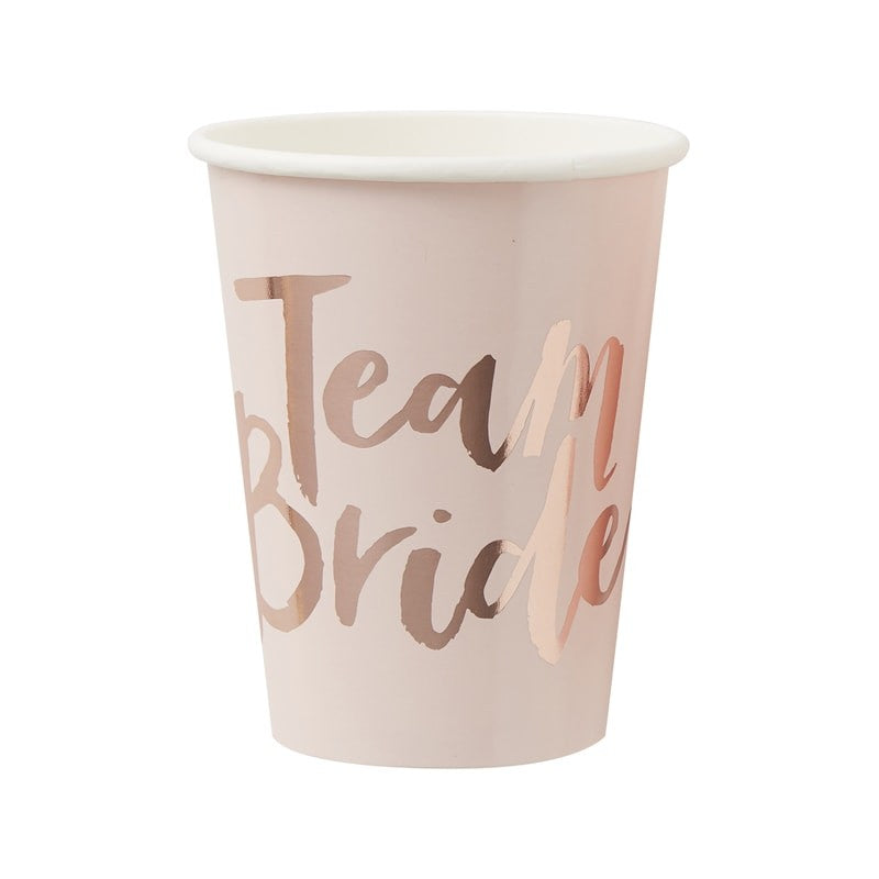 Pink and Rose Gold Team Bride Cups