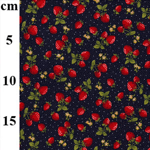 Cotton Poplin - Strawberries on Navy