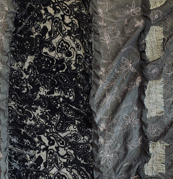 Bohemian Black Lace Velvet Mix