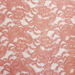Stretch Lace - Salmon Pink Scalloped