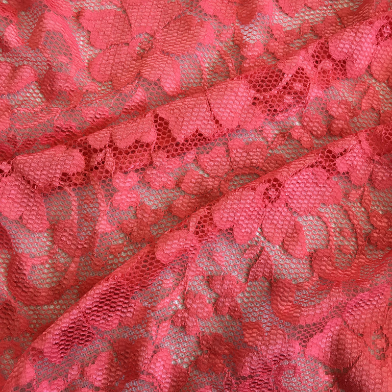 Stretch Lace - Calypso Pink Scalloped
