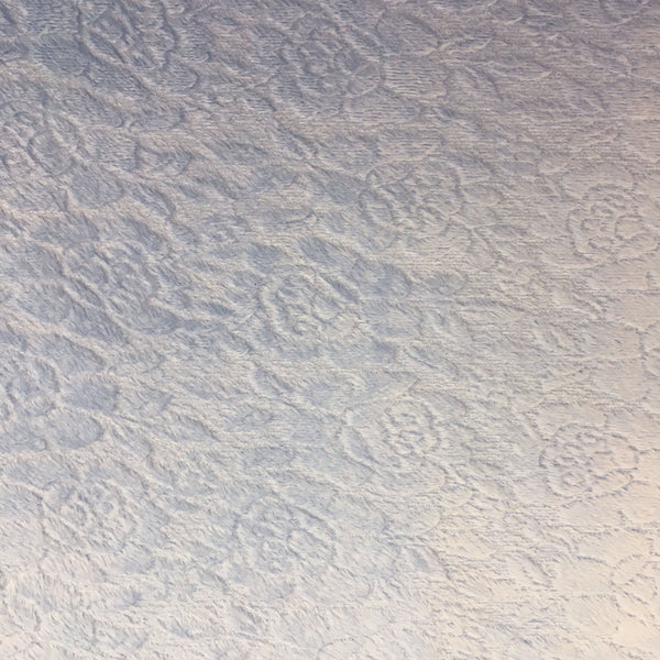 Soft Polar Fleece - Baby Blue Floral Embossed