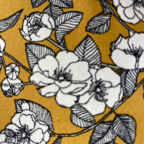 Cotton Poplin - White Roses on Ochre