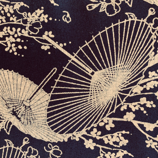 Cotton Poplin - Oriental parasols Black