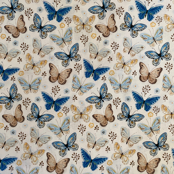 Butterflies - Blue on White
