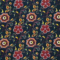 Babycord - Retro Floral Black