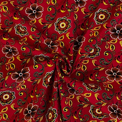 Babycord - Retro Floral Red