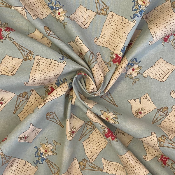 Cotton Canvas - Love Letters - Light Blue