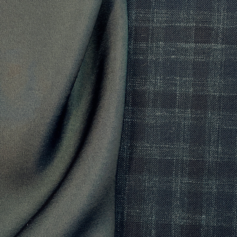 Suiting - Teal Navy Check