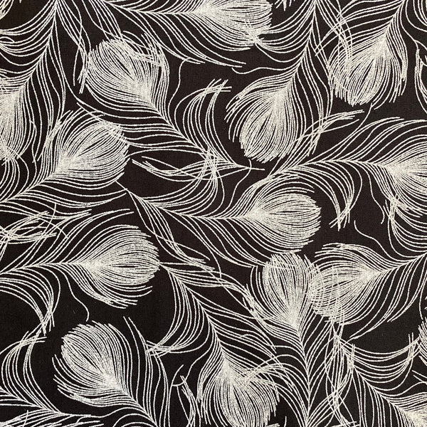 Cotton Poplin - Feathers - Black