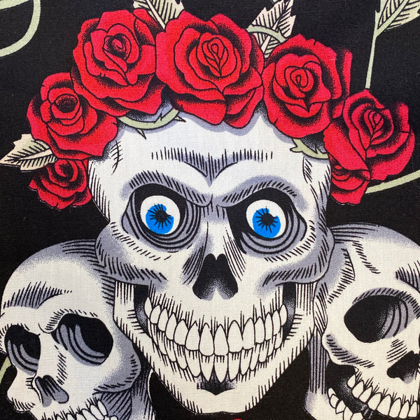 Cotton Poplin - Day of the Dead - Black