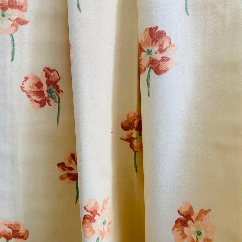 Ready Made Curtains -  Cream Floral Vintage