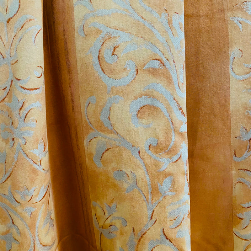 Ready Made Curtains -  Peach Scrolls Vintage