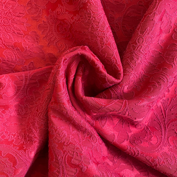 Satin Backed Stretch Jacquard - Red
