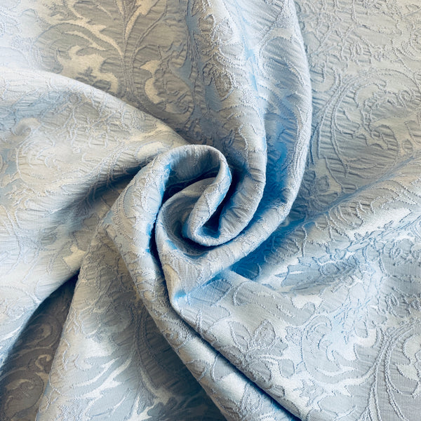 Satin Backed Stretch Jacquard - Blue