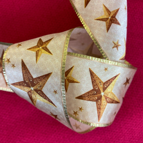 Christmas Ribbon - Golden Stars