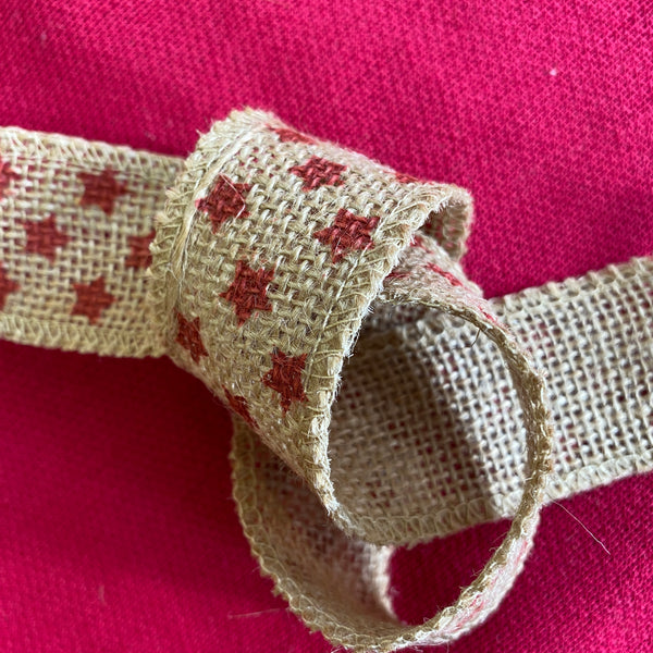 Christmas Ribbon - Christmas Stars Hessian