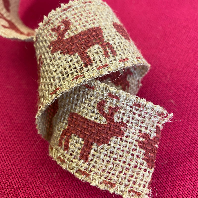 Christmas Ribbon - Reindeer Hessian
