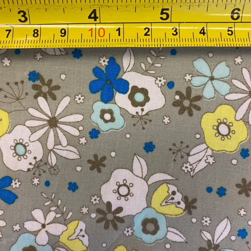 Cotton Poplin Floral - Blue and Yellow