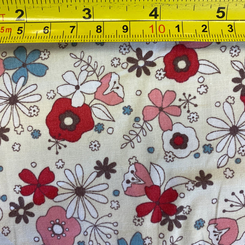 Cotton Poplin Floral - Pinks on Yellow