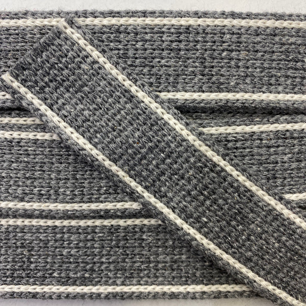 KRCA 30 Webbing - Mid Grey with Ecru edge stripe