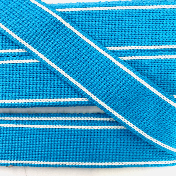 KRCA 30 Webbing - Turquoise with Ecru edge stripe