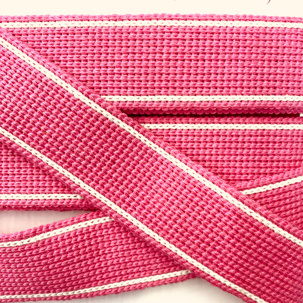 KRCA 30 Webbing - Pink with Ecru edge stripe
