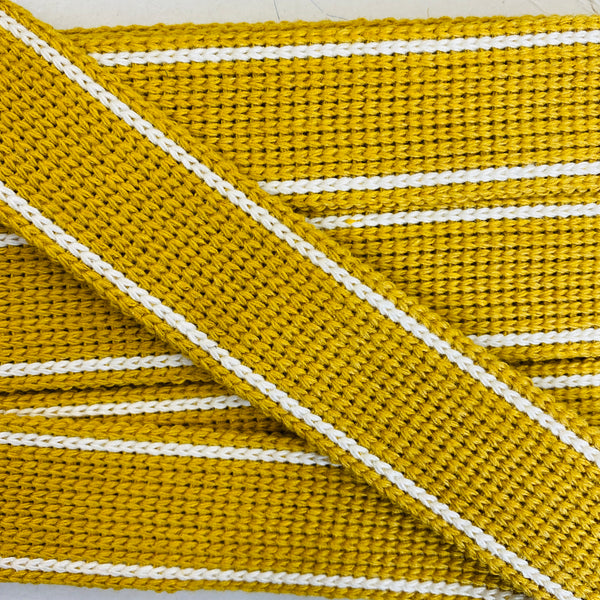KRCA 30 Webbing - Mustard with Ecru edge stripe