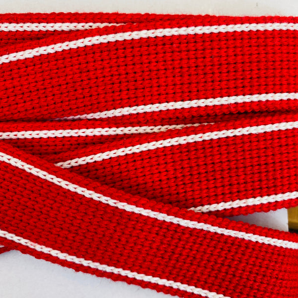KRCA 30 Webbing - Red with Ecru edge stripe