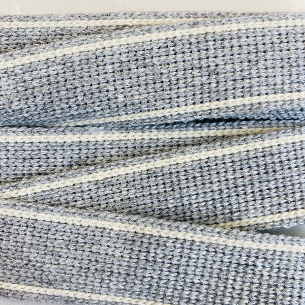 KRCA 30 Webbing - Light Grey with Ecru edge stripe