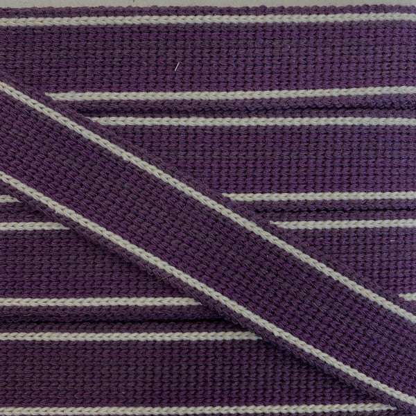 KRCA 30 Webbing - Plum with Ecru edge stripe