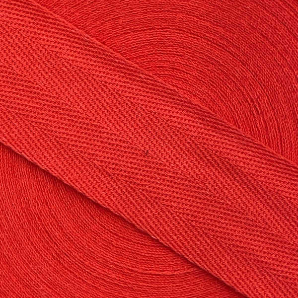 Herringbone Webbing Tape - Cotton Scarlet