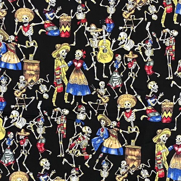 Cotton Poplin - Day of the Dead Carnival - Black