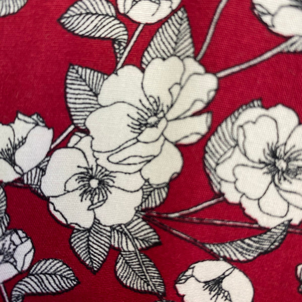 Cotton Poplin - White Roses on Red