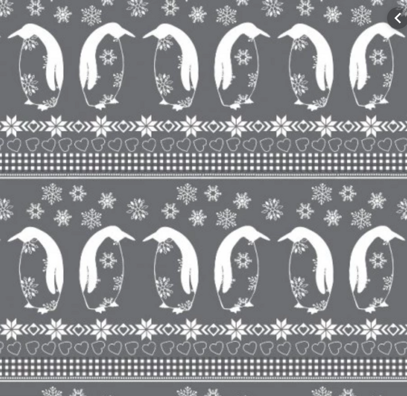 Nordic Christmas Penguins - Grey