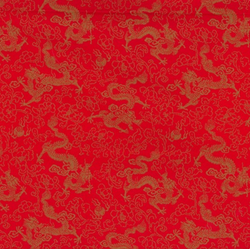 Cotton Poplin - Chinese dragons Red