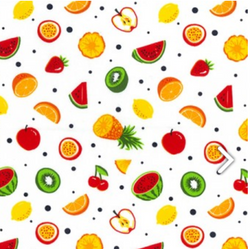 Cotton Poplin - Fruit on White