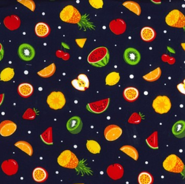 Cotton Poplin - Fruit on Navy