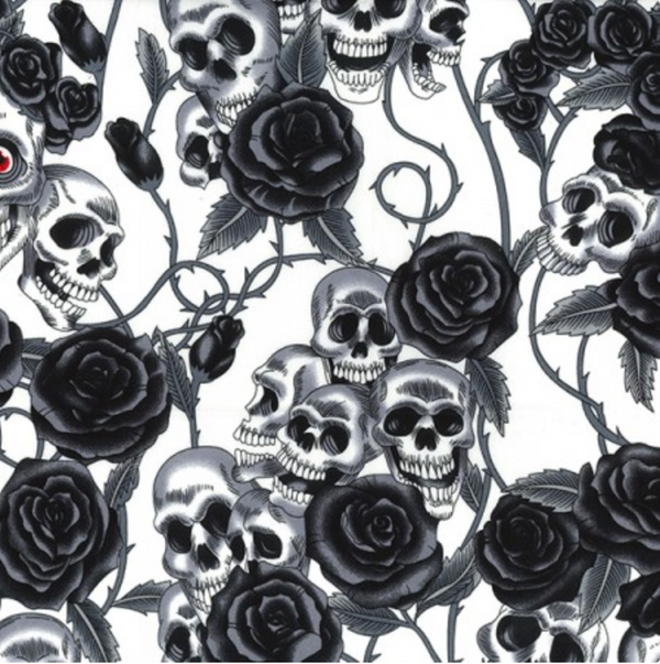Cotton Poplin - Day of the Dead - Ivory