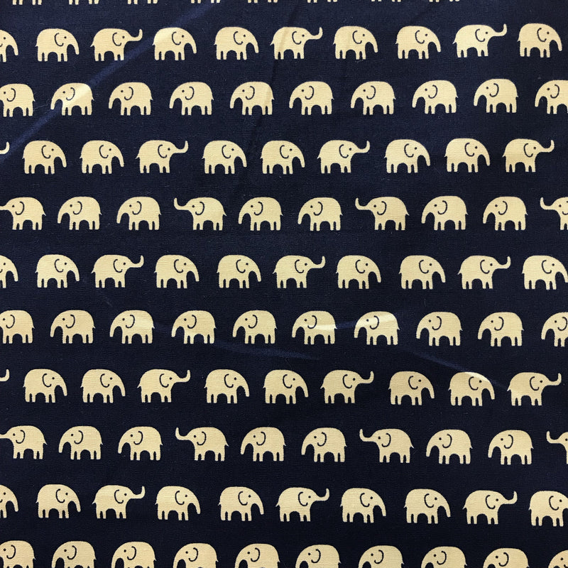Elephants - Beige on Navy