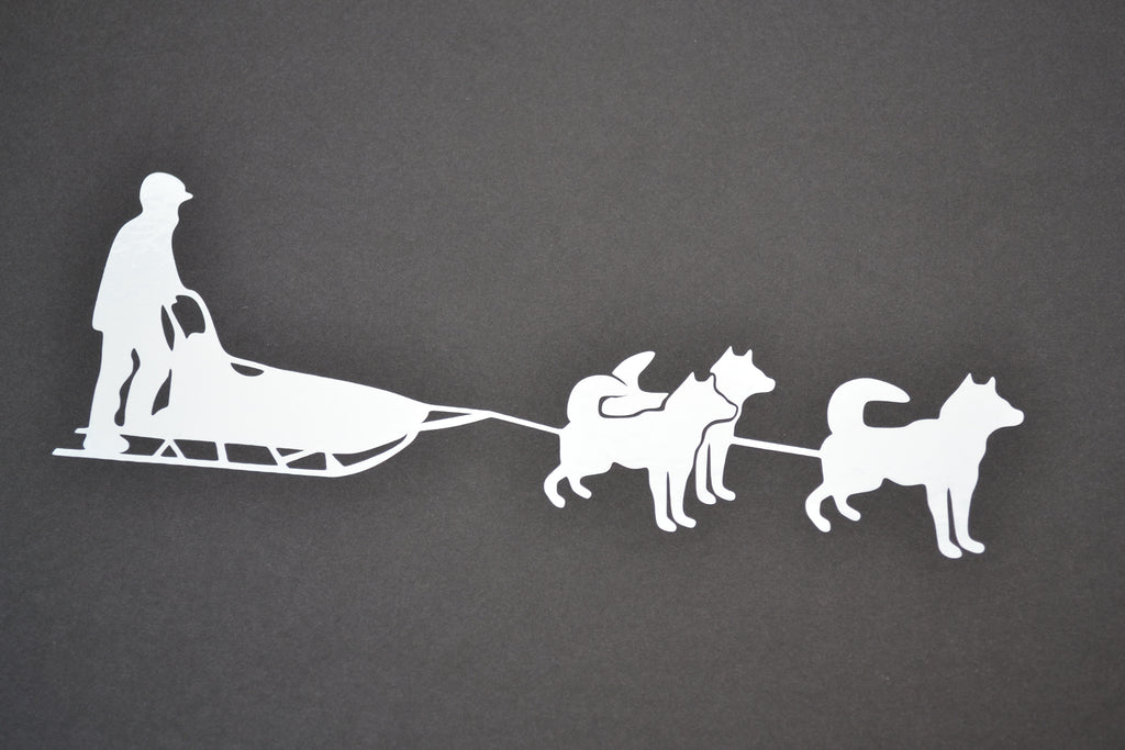 Sticker: Siberian Husky Sled Dog Team