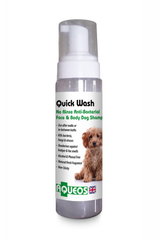 Quick Wash - No Rinse Anti-Bacterial Dog Shampoo or Face Wash (Aqueos)
