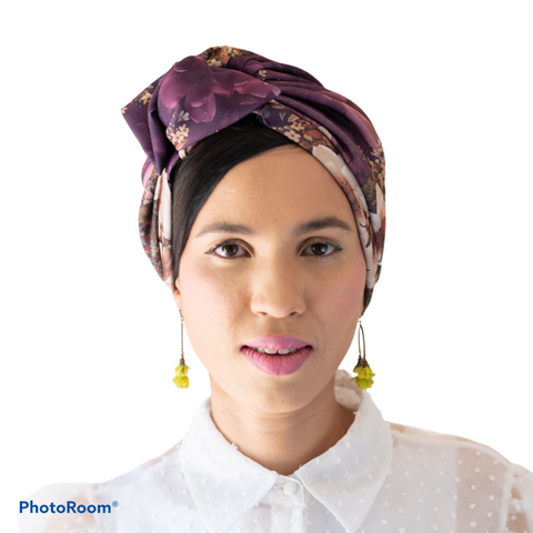 TURBAN || printed aubagine