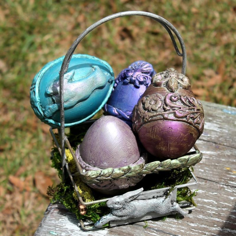 Easter Basket & Eggs with Fusion Mineral Paint, IOD Moulded, and Finnabair Waxes!
